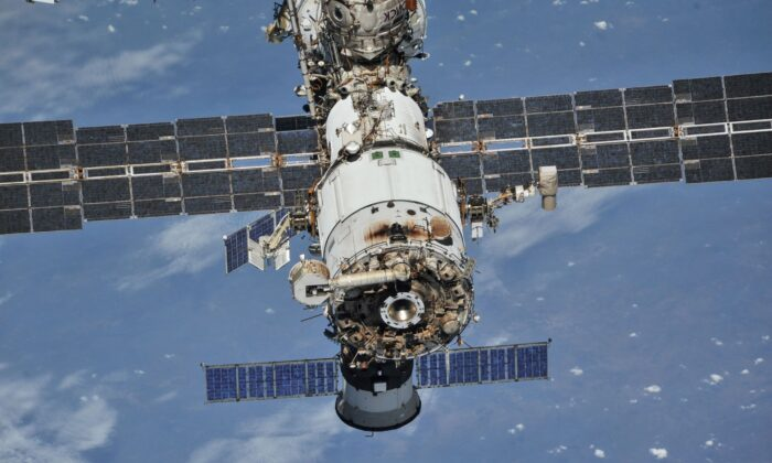 The International Space Station (ISS) photographed from a Soyuz spacecraft after undocking, on Oct. 4, 2018. (NASA/Roscosmos/Handout via Reuters)