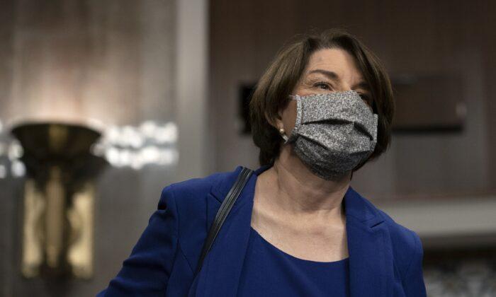 Sen. Amy Klobuchar (D-Minn.) is seen in Washington, on Sept. 30, 2020. (Stefani Reynolds/Pool/Getty Images)