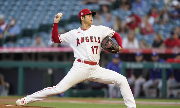 Los Angeles Angels starting pitcher Shohei Ohtani (17) throws during the first inning of a baseball game Friday, Sep. 3, 2021, in Anaheim, Calif. (AP Photo/Ashley Landis)