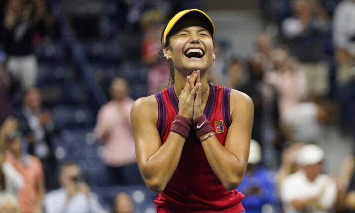 Emma Raducanu of Great Britain reacts after defeating Maria Sakkari of Greece during the semifinals of the U.S. Open tennis championships, in New York on Sept. 9, 2021. (Frank Franklin II/AP Photo)