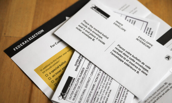 A special ballot voting package that voters will receive if requested is seen in Calgary, Alta., on Sept. 2, 2021. (The Canadian Press/Jeff McIntosh)