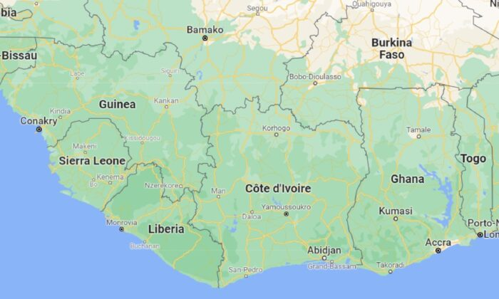 A map showing Ivory Coast, also known as Côte d'Ivoire. (Google Maps)