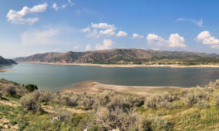 The Echo Reservoir in Utah is roughly at half capacity due to a severe ongoing drought that has affected the entire state. (Allan Stein/Epoch Times)