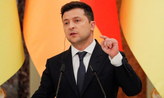 Ukrainian President Volodymyr Zelensky gives a joint news conference at the Mariinsky palace in Kyiv on Aug. 22, 2021. (Sergey Dolzhenko/AFP via Getty Images)