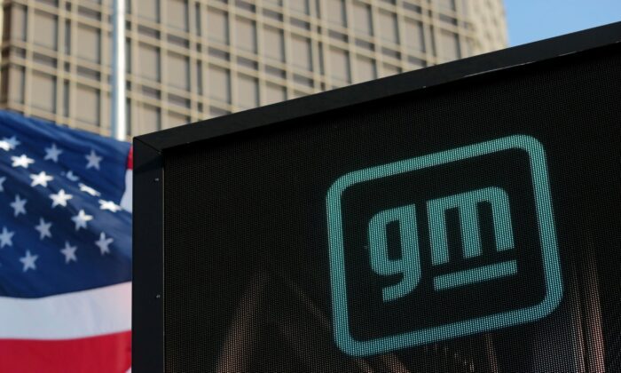 The new GM logo is seen on the facade of the General Motors headquarters in Detroit, Michi., on March 16, 2021. (Rebecca Cook/Reuters)