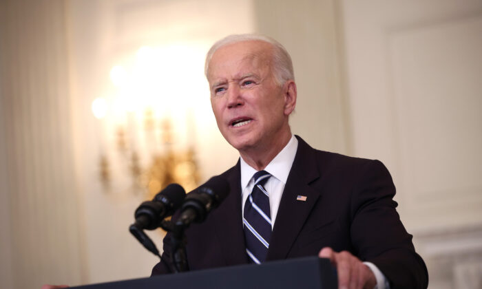 President Joe Biden speaks about combatting the coronavirus pandemic in the State Dining Room of the White House in Washington, on Sept. 9, 2021. (Kevin Dietsch/Getty Images)
