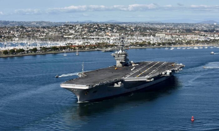 The aircraft carrier USS Theodore Roosevelt (CVN 71) leaves its San Diego homeport on Jan. 17, 2020. (U.S. Navy via Getty Images)