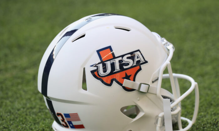 A UTSA Roadrunners football helmet on the field at McLane Stadium on September 9, 2017 in Waco, Texas. (Ronald Martinez/Getty Images)
