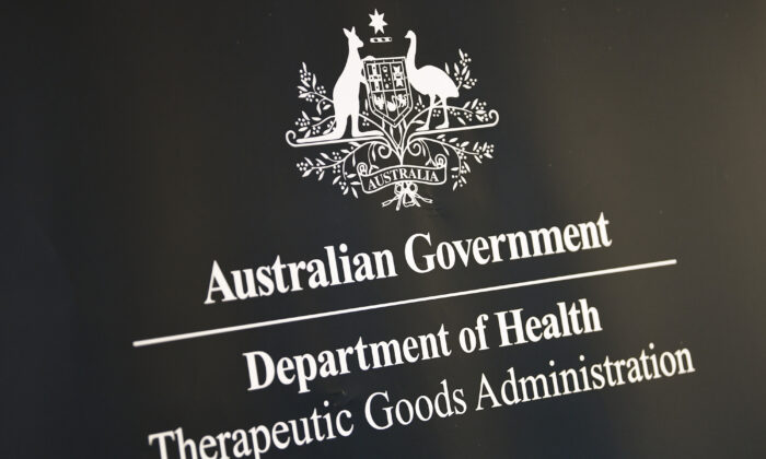 The logo of the Therapeutic Goods Administration is seen at a COVID-19 vaccines press conference in Canberra, Australia, on May 6, 2021. (AAP Image/Lukas Coch)