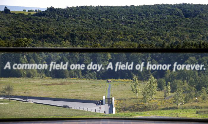 View of the United Flight 93 crash site from the Flight 93 National Memorial's new visitors center complex in Shanksville, Pa., on Wednesday, Sept. 9, 2015. (Gene J. Puskar/AP Photo)