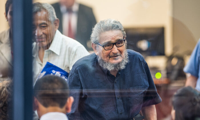 Shining Path terrorist group leader Abimael Guzman arrives to his trial at a military base in Callao, outskirts of Lima, Peru, on Feb. 28, 2017. (Ernesto Benavides/AFP via Getty Images)