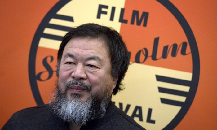 Chinese artist Ai Weiwei addresses a press conference at the Stockholm Film Festival in Stockholm, Sweden, on Nov. 17, 2015. (Janerik Henriksson/AFP via Getty Images)