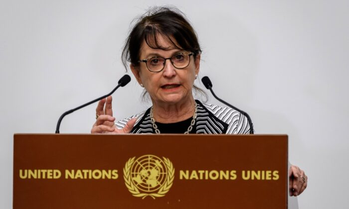 Special Representative of the U.N. Secretary-General for Afghanistan Deborah Lyons delivers a statement during the 2020 Afghanistan donor conference hosted by the U.N. in Geneva, Switzerland, on Nov. 24, 2020. (Fabrice Coffrini/AFP via Getty Images)