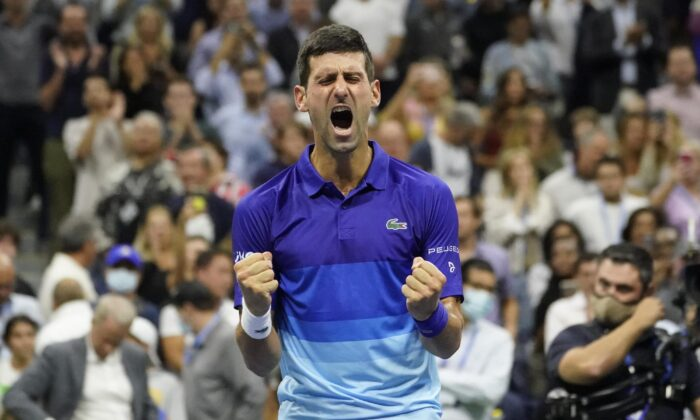 Novak Djokovic of Serbia reacts after defeating Alexander Zverev of Germany during the semifinals of the U.S. Open tennis championships in New York on Sept. 10, 2021. (Elise Amendola/AP Photo)