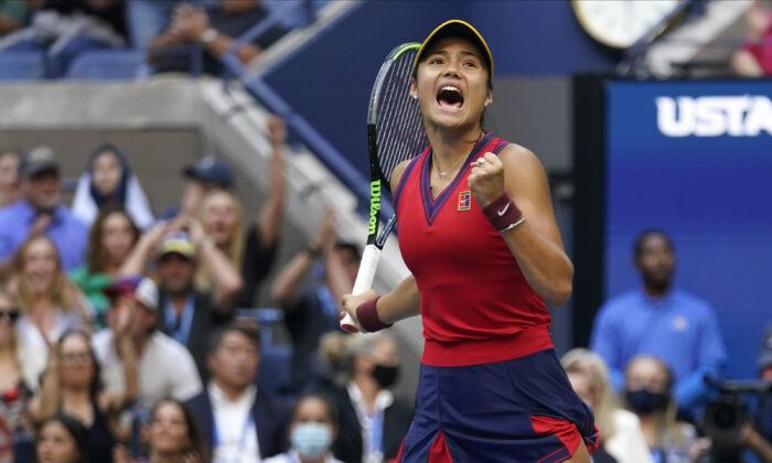 Emma Raducanu of Britain reacts after scoring a point against Leylah Fernandez of Canada during the women's singles final of the U.S. Open tennis championships in New York on Sept. 11, 2021. (Seth Wenig/AP Photo)