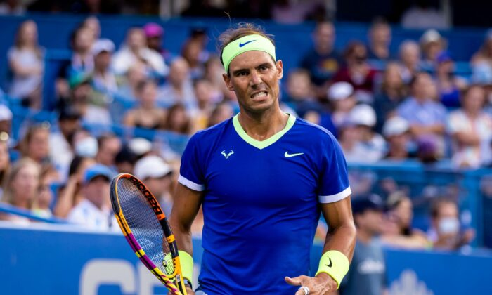 Rafael Nadal of Spain reacts during the Citi Open at Rock Creek Park Tennis Center in Washington on Aug. 4, 2021. (Scott Taetsch-USA Today Sports via Reuters)