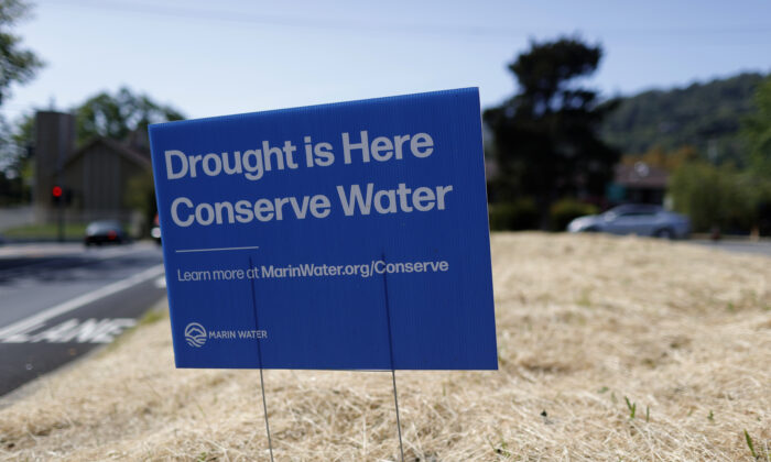 A sign advocating water conservation is posted in a field of dry grass in San Anselmo, California, on April 23, 2021. (Justin Sullivan/Getty Images)