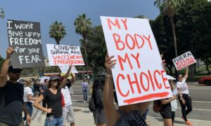 Californians Protest Forced Vaccinations of Police