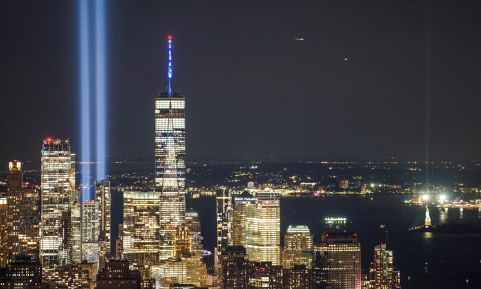 The Tribute in Light art installation is seen from Empire State Building, commemorating the 20th anniversary of the Sept. 11, 2001, attacks, in New York City on Sept. 11, 2021. (Go Nakamura/Reuters)