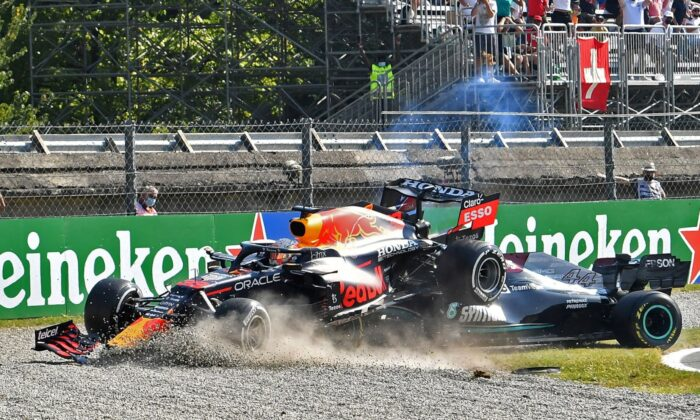 Red Bull's Max Verstappen and Mercedes' Lewis Hamilton crash out of the race at the Italian Grand Prix in Monza, Italy on Sept. 12, 2021. (Jennifer Lorenzini/Reuters)