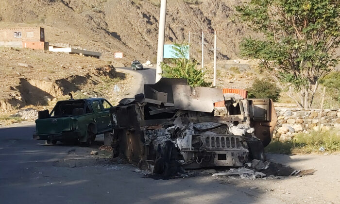 A burnt down Humvee is seen along a road in Dashtak, Panjshir province, on Sept. 6, 2021. (AFP via Getty Images)