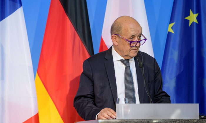 French Foreign Minister Jean-Yves Le Drian attends a joint news conference at the Bauhaus University in Weimar, Germany, on Sept. 10, 2021. (Jens Schlueter/Pool via Reuters)