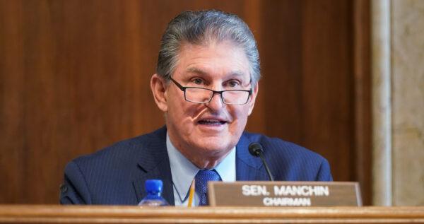 Sen. Joe Manchin (D-W.Va.) at the U.S. Capitol in Washington on February 24, 2021. (Leigh Vogel/Pool via Getty Images)