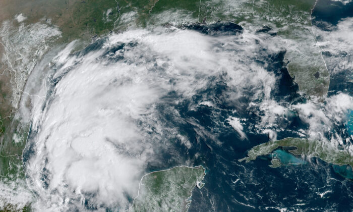 Tropical Storm Nicholas in the Gulf of Mexico on Sept. 12, 2021. (NOAA via AP)