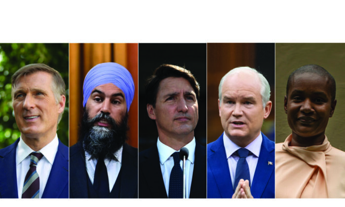(L–R) People's Party Leader Maxime Bernier, NDP Leader Jagmeet Singh, Liberal Leader Justin Trudeau, Conservative Leader Erin O'Toole, and Green Leader Annamie Paul. (The Canadian Press/ Edited by The Epoch Times)