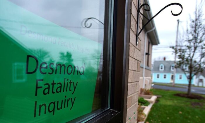 The Desmond Fatality Inquiry is being held at the Guysborough Municipal building in Guysborough, N.S. on Nov. 18, 2019. Lionel Desmond, a troubled Afghan war veteran diagnosed with PTSD, killed his mother, wife and young daughter before taking his own life. The inquiry's mandate, among other things, is to determine if Desmond and his family had access to the appropriate mental health and domestic violence intervention services leading up to their deaths. The inquiry has been put on hold until January 2020. (The Canadian Press/Andrew Vaughan)