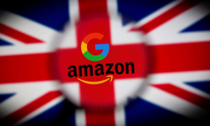 The UK flag, and Google's and Amazon's logos are seen displayed through a magnifier in this illustration picture taken on June 25, 2021. (Dado Ruvic/Illustration/Reuters)