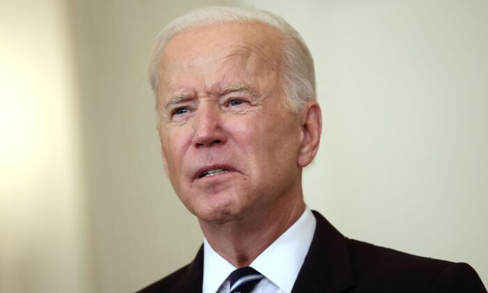 President Joe Biden speaks about combatting the coronavirus pandemic in the State Dining Room of the White House in Washington on Sept. 9, 2021. (Kevin Dietsch/Getty Images)