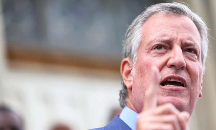 New York City Mayor Bill de Blasio speaks during a faith vigil for victims of an earthquake in Haiti at the steps of St. Jerome's Roman Catholic Church  in the Little Caribbean neighborhood of Brooklyn in New York City on Aug. 16, 2021. (Michael M. Santiago/Getty Images)
