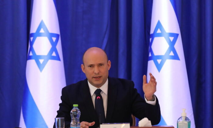 Israeli Prime Minister Naftali Bennett attends a cabinet meeting at the Ministry of foreign affairs offices in Jerusalem, Israel, on Sept. 12, 2021. (Abir Sultan/Pool via Reuters)