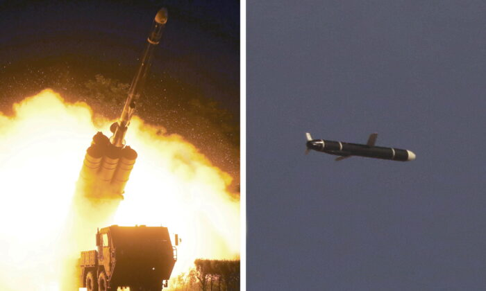 The Academy of National Defense Science conducts long-range cruise missile tests in North Korea, as pictured in this combination of undated photos supplied by North Korea's Korean Central News Agency (KCNA) on Sept. 13, 2021. (KCNA via Reuters)