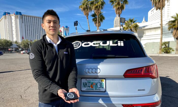 Oculii CEO Steven Hong shows the company's radar kit at the CES tech show in Las Vegas, Nev., on Jan. 5, 2020. (Jane Lanhee Lee/Reuters)