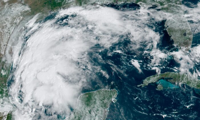 This satellite image shows Tropical Storm Nicholas in the Gulf of Mexico on Sept. 12, 2021. (NOAA via AP)