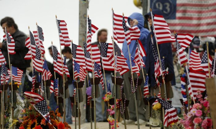 American flags fly at a memorial site for the Sept. 11, 2001, terror attacks in a file photograph. (Jeff Swensen/Getty Images)