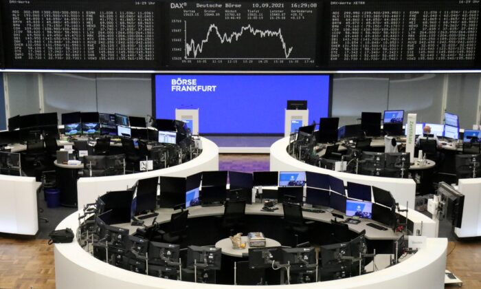 The German share price index DAX graph is pictured at the stock exchange in Frankfurt, Germany on Sept. 10, 2021. (Staff/Reuters)