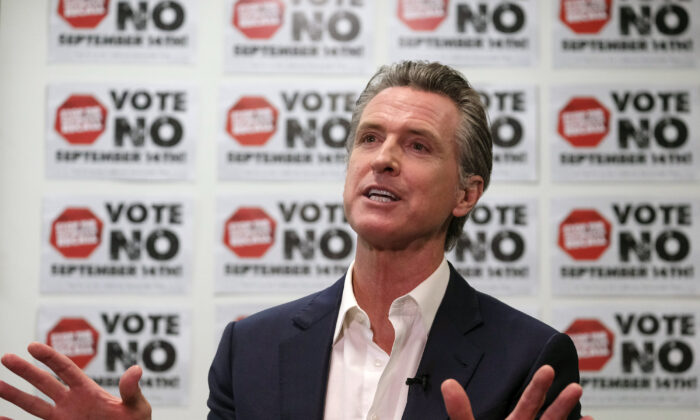 California Gov. Gavin Newsom is photographed during a TV interview in Sun Valley, Calif., on Sept. 12, 2021. (Ringo H.W. Chiu/AP Photo)