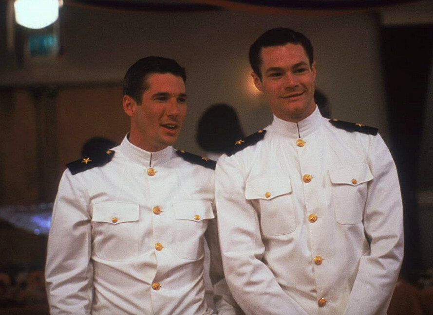 two men in Navy dress whites in An Officer and a gentleman