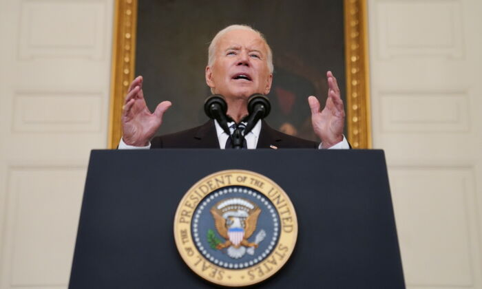 President Joe Biden delivers remarks on the Delta variant and his administration's efforts to increase vaccinations, from the State Dining Room of the White House on Sept. 9, 2021. (Kevin Lamarque/Reuters)