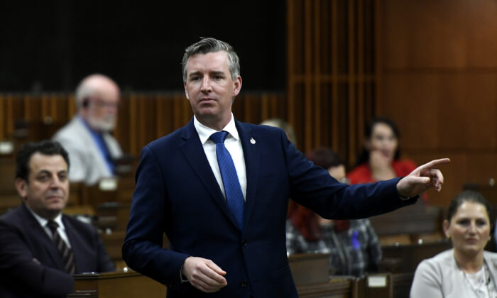 Conservative MP Michael Barrett rises during question period in the House of Commons in Ottawa on  June 15, 2021. (The Canadian Press/Justin Tang)