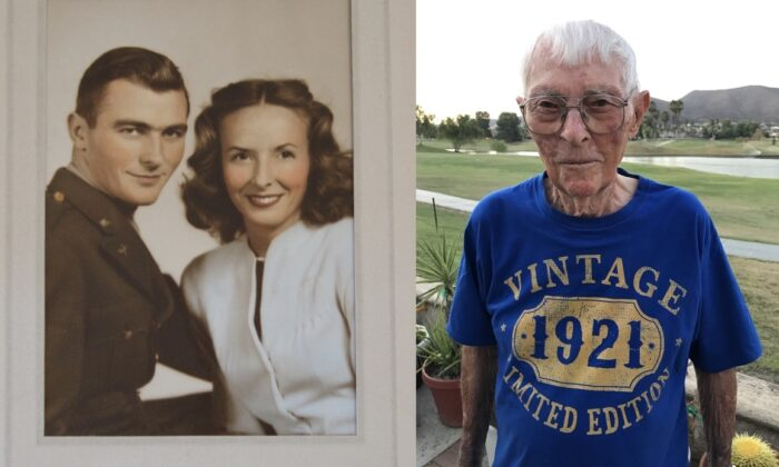 (L) WWII veteran Ed Reeder and his wife Liz Reeder in an undated photo; (R) Ed Reeder on his 100th birthday in Menifee, Calif., on Sept. 5, 2021. (Brad Jones/The Epoch Times)