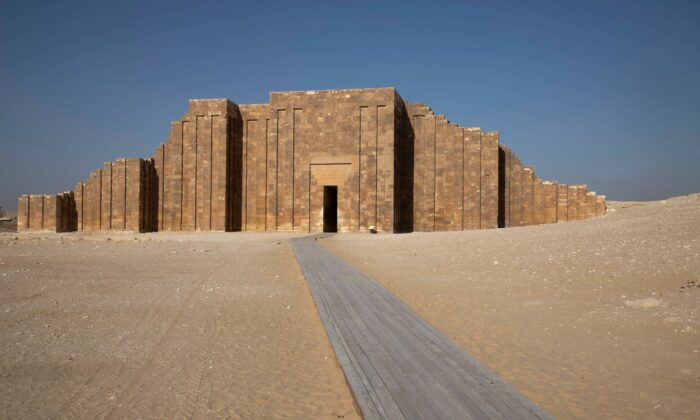 A path leads to the entrance of the southern cemetery of King Djoser, after its restoration, near the famed Step Pyramid, in Saqqara, south of Cairo, Egypt, on Sept. 14, 2021. (Nariman El-Mofty/AP Photo)