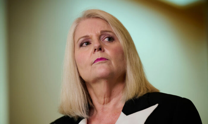Australian Home Affairs Minister Karen Andrews speaks during a press conference at Parliament House in Canberra, Australia, on Aug. 23, 2021. (Rohan Thomson/Getty Images)
