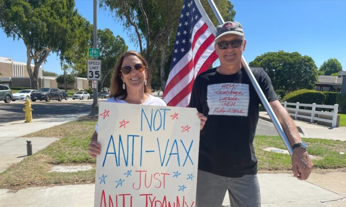 South Bay residents gather in front of City Hall to protest against mask and vaccine mandates in Torrance, Calif., on Sept. 11, 2021. (Alice Sun/The Epoch Times)