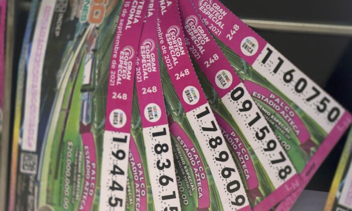 Lottery tickets for sale are displayed in Mexico City, Monday, on Sept. 13, 2021. (Fernando Llano/AP Photo)