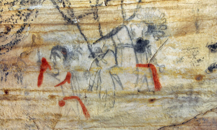Missouri cave featuring artwork from the Osage Nation dating more than 1,000 years was sold at auction on Tuesday, on Sept. 14, 2021. (Alan Cressler/ via AP)