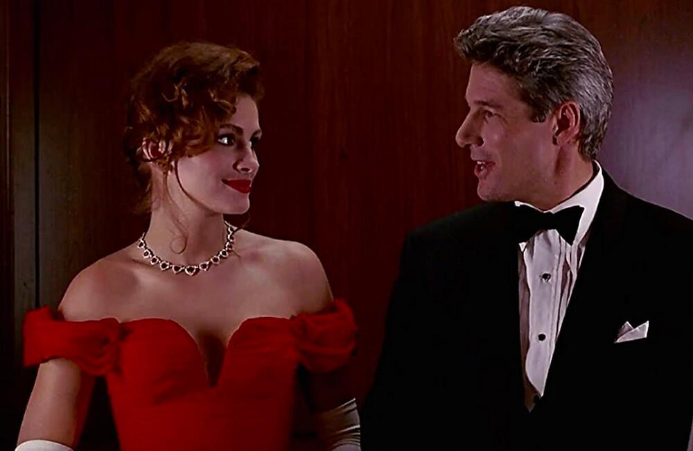 woman in a red dress man in tuxedo in Pretty Woman